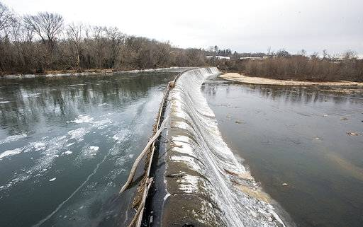 Ice forms on the Schoolfield Dam in Danville, Va., Wednesday morning, Jan. 3, 2018,  as temperatures stayed well below freezing. (Matt Bell/The Register & Bee via AP)