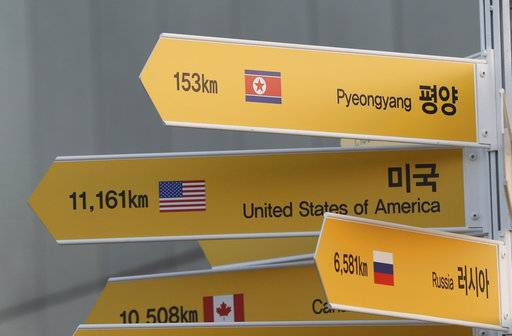 A destination sign to North Korea's capital Pyongyang, top, is seen at the Imjingak Pavilion in Paju, South Korea, Wednesday, Jan. 3, 2018. North Korean leader Kim Jong Un reopened a key cross-border communication channel with South Korea for the first time in nearly two years Wednesday as the rivals explored the possibility of sitting down and talking after months of acrimony and fears of war.