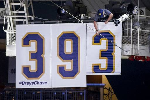 "A worker drops a banner reading ""393,"" the number of program wins Notre Dame head coach Mike Brey has accumulated, following an NCAA college basketball game against Georgia Tech, Saturday, Dec. 30, 2017, in South Bend, Ind. The number ties the program record set by former Notre Dame basketball coach Digger Phelps."