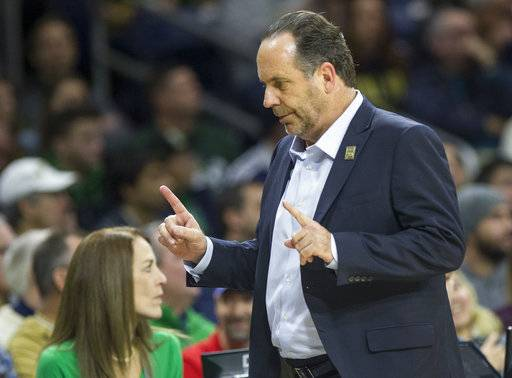 Notre Dame head coach Mike Brey looks on from the bench during the second half of an NCAA college basketball game against Notre Dame, Saturday, Dec. 30, 2017, in South Bend, Ind.