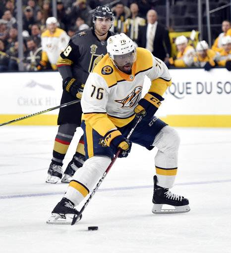 Nashville Predators defenseman P.K. Subban (76) skates with the puck against the Vegas Golden Knights during the first period of an NHL hockey game Tuesday, Jan. 2, 2018, in Las Vegas.