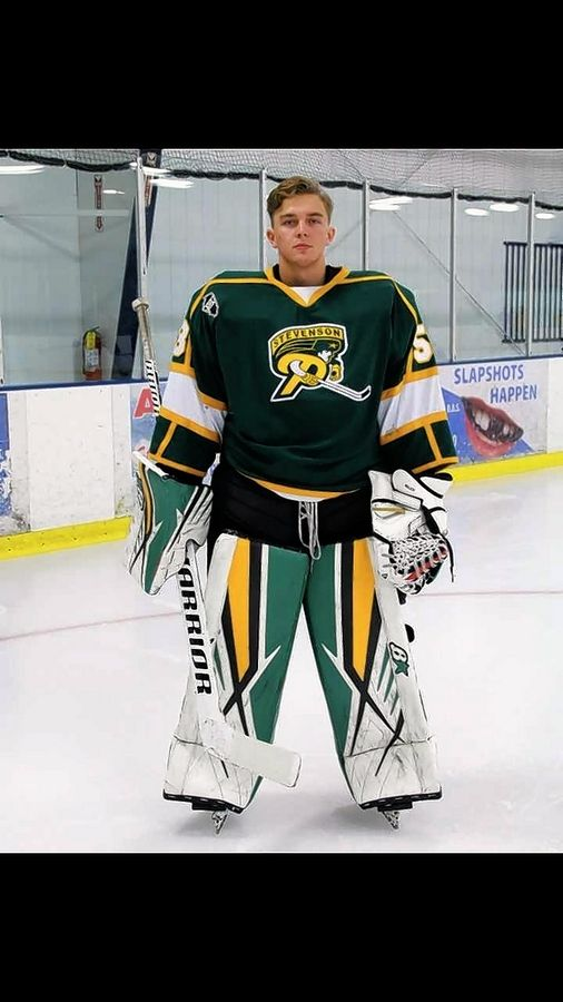 Stevenson goalie Elias Sandholm has been a large presence in net since transferring from Sweden.