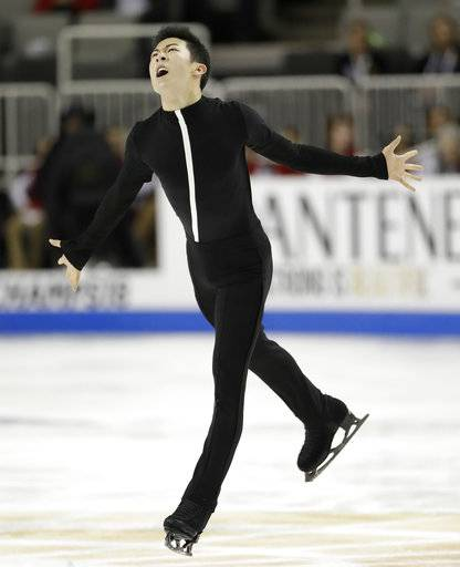 Nathan Chen performs during the men's short program at the U.S. Figure Skating Championships in San Jose, Calif., Thursday, Jan. 4, 2018. (AP Photo/Marcio Jose Sanchez)