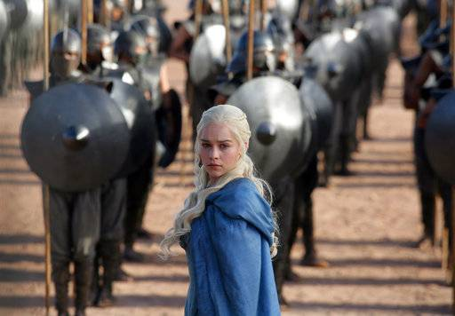 "FILE - This file publicity image released by HBO shows Emilia Clarke as Daenerys Targaryen in a scene from ""Game of Thrones."" The final season of ""Game of Thrones� will feature veterans of the show behind the scenes. HBO said Thursday that David Benioff, D.B. Weiss, David Nutter and Miguel Sapochnik will direct and Benioff and Weiss along with Bryan Cogman and Dave Hill will write the episodes. They will collaborate on the six-episode, eighth and last season, to air in 2019. (AP Photo/HBO, Keith Bernstein, File)"