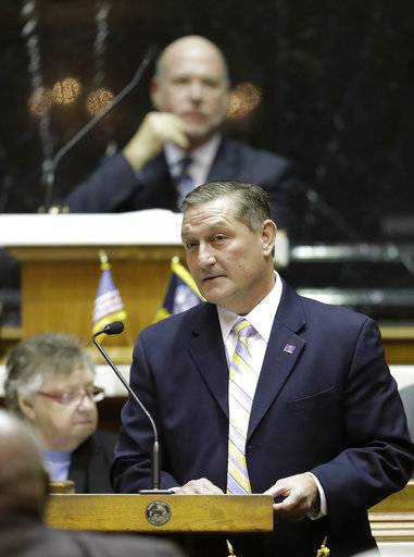 House Minority Leader Terry Goodin speaks during the start of the General Assembly session at the Statehouse, Wednesday, Jan. 3, 2018, in Indianapolis. (AP Photo/Darron Cummings)