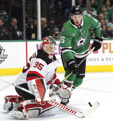 New Jersey Devils goaltender Cory Schneider (35) defends the goal against Dallas Stars right wing Brett Ritchie (25) during the first period of an NHL hockey game in Dallas, Thursday, Jan. 4, 2018.