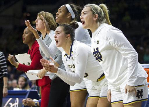 Notre Dame players cheer for their teammates during the second half of an NCAA college basketball game against Miami on Thursday, Jan. 4, 2018, in South Bend, Ind. (AP Photo/Robert Franklin)