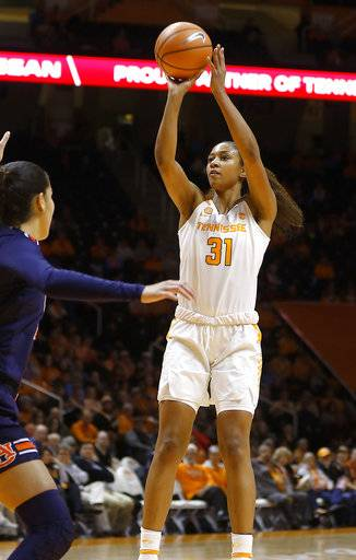 Tennessee's Jamie Nared shoots against Auburn during an NCAA college basketball game Thursday, Jan. 4, 2018, in Knoxville, Tenn. (Daryl W Sullivan/The Daily Times via AP)
