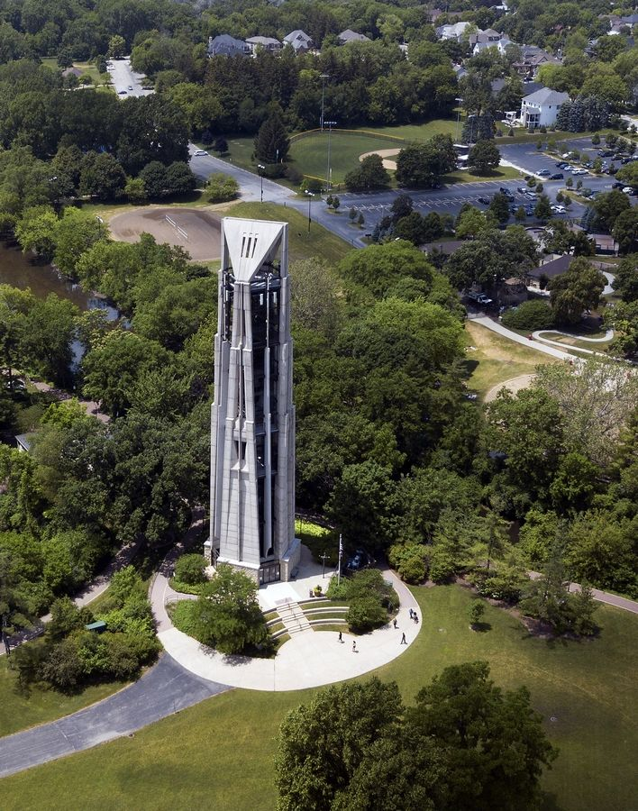 Moser Tower, which holds the 72 bells of the Millennium Carillon in Naperville, is being assessed under a new structural report due in late June. The report will help determine how much it will cost to fix structural issues identified last year.