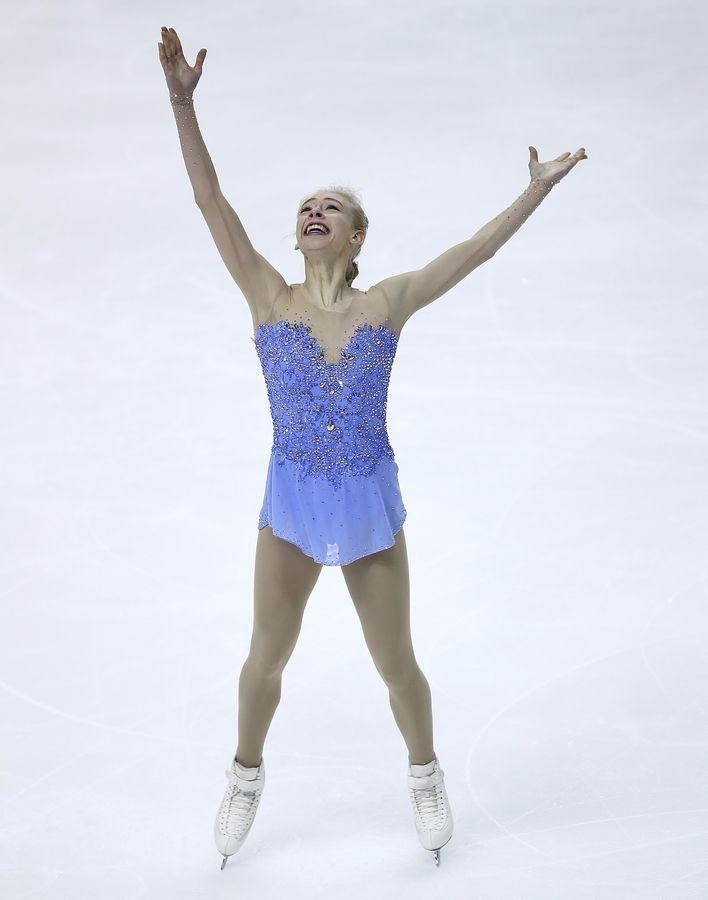 Bradie Tennell, of Carpentersville, reacts after her performance during the women's free skate event at the U.S. Figure Skating Championships in San Jose, Calif., Friday, Jan. 5, 2018.