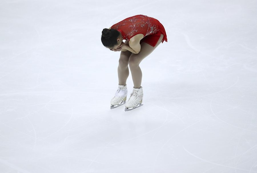 Mirai Nagasu reacts after her performance during the women's free skate event at the U.S. Figure Skating Championships in San Jose, Calif., Friday, Jan. 5, 2018.