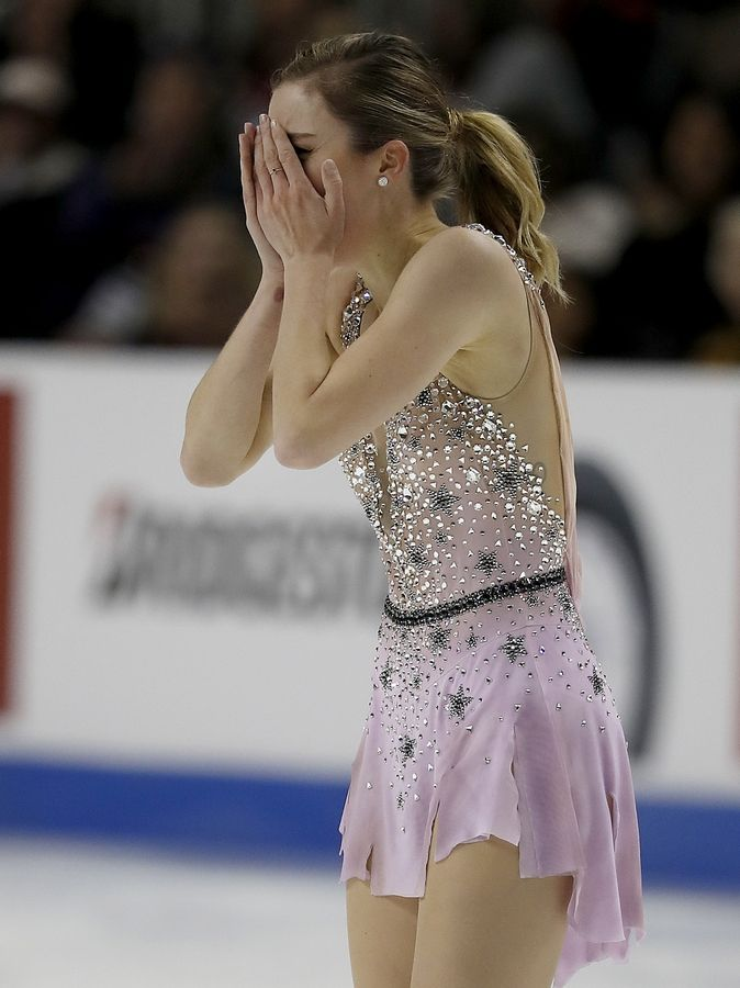 Ashley Wagner reacts after performing during the women's free skate event at the U.S. Figure Skating Championships in San Jose, Calif., Friday, Jan. 5, 2018.