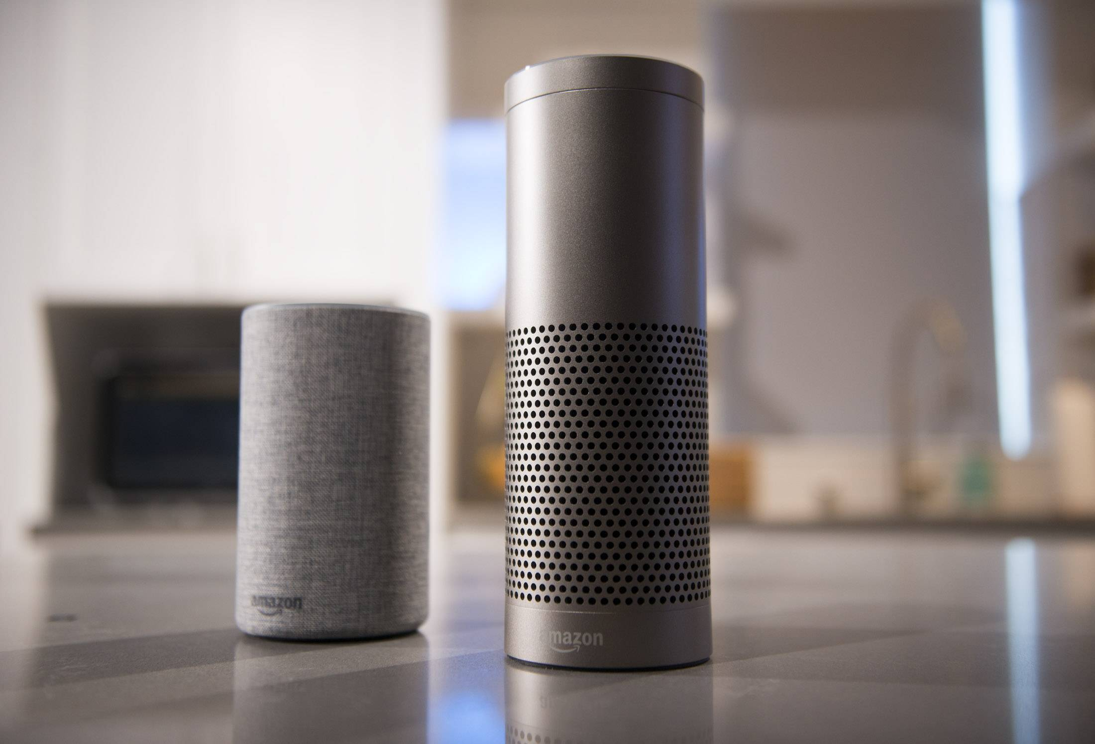 "The Amazon Echo, left, and Echo Plus. People who own an Echo are more likely to install other smart gadgets, said David Limp, Amazon's senior vice president of devices and services. ""They don't start by rewiring the whole home. They start with a switch."""
