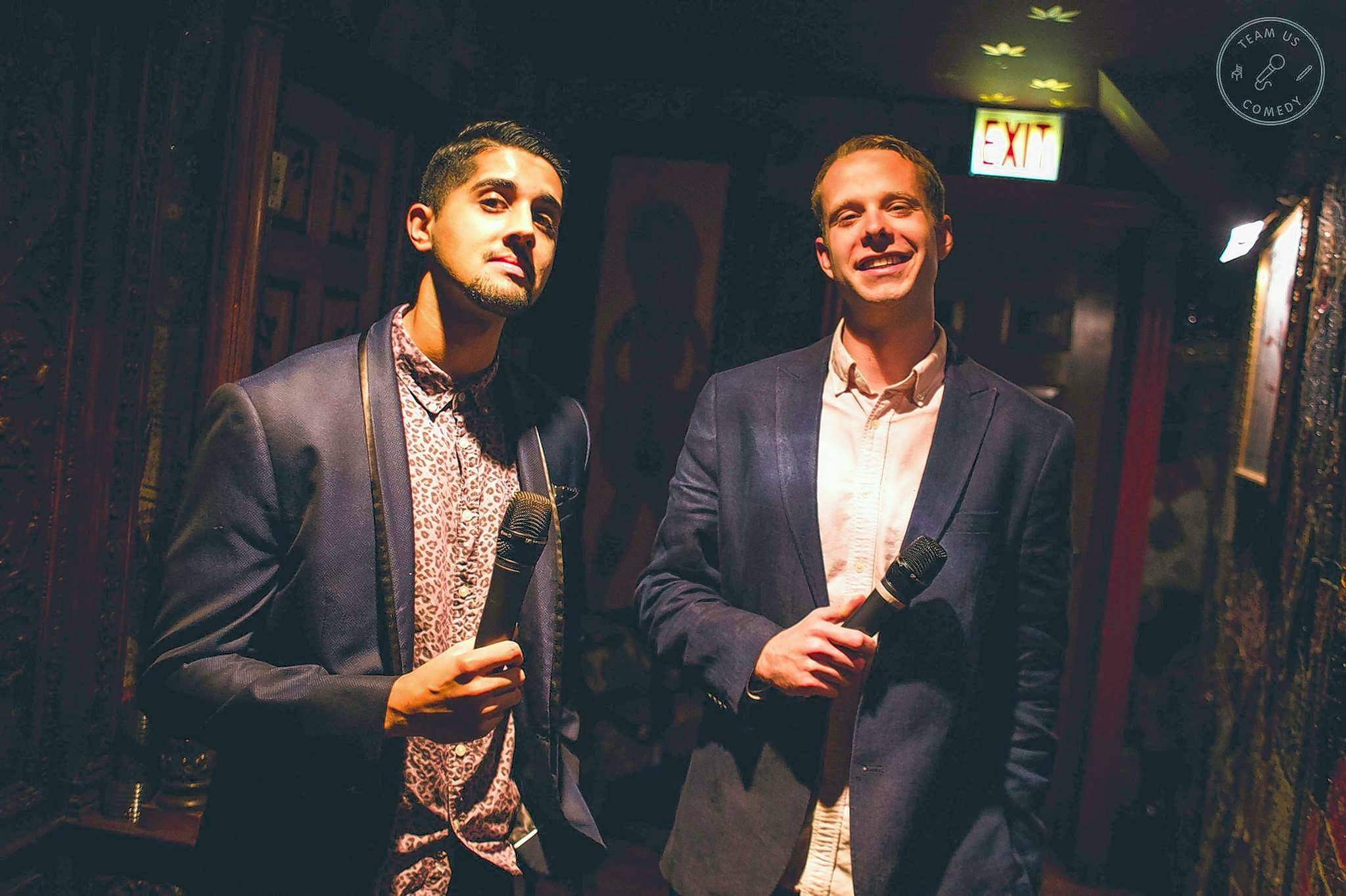 Vik Pandya, left, grew up in Naperville, while Tyler Fowler hails from Lombard. The two joined with Meg Indurti to form the Chicago trio Team Us Comedy.