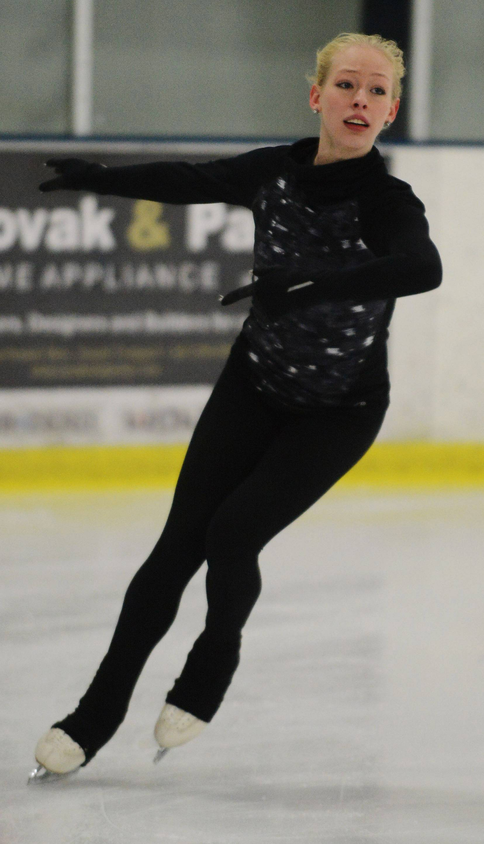 Figure skater Bradie Tennell practices at Twin Rinks Ice Pavillion in Buffalo Grove in January 2016.