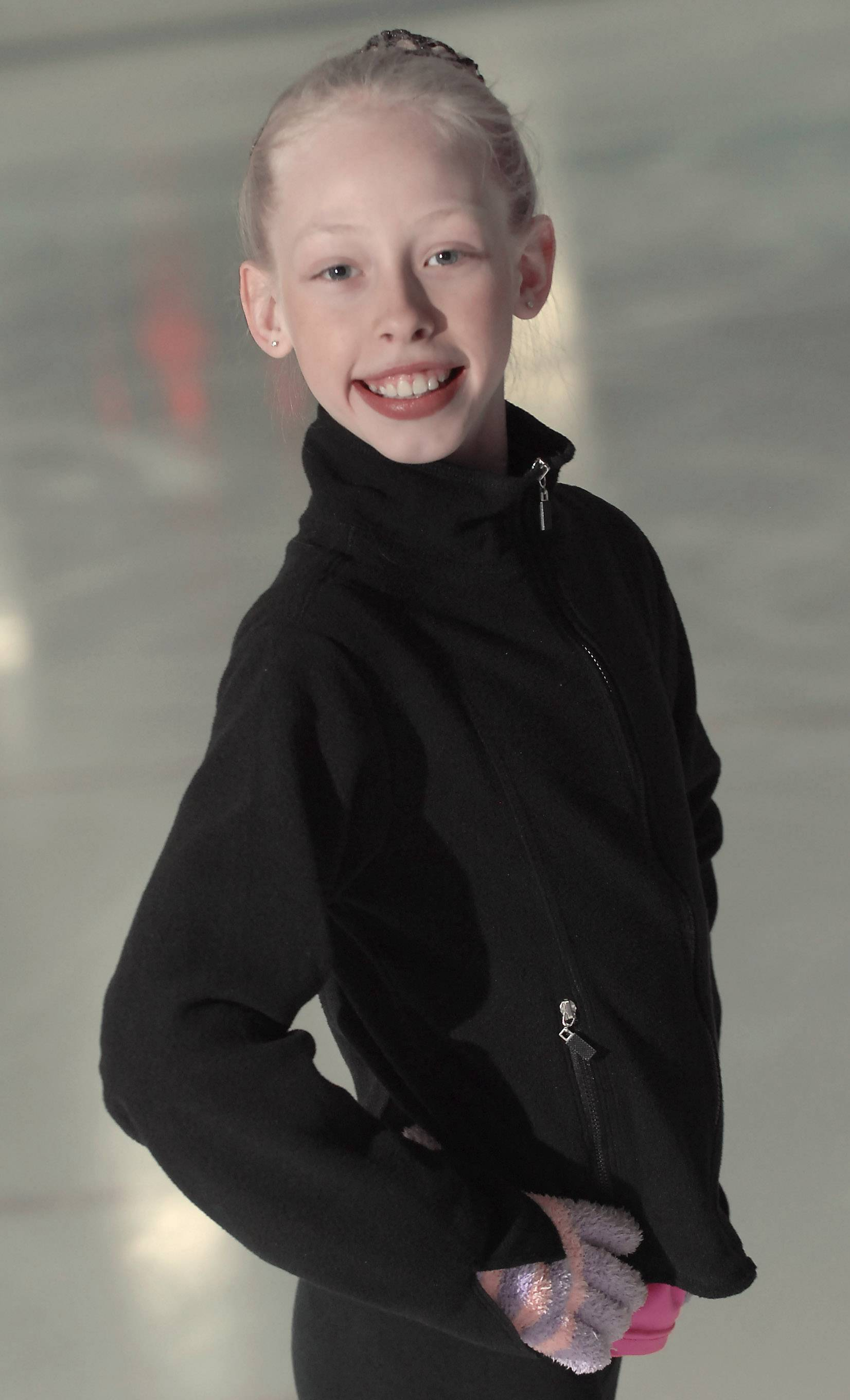 Figure skater Bradie Tennell, then 12, poses in 2009 while preparing for a show in Skokie.