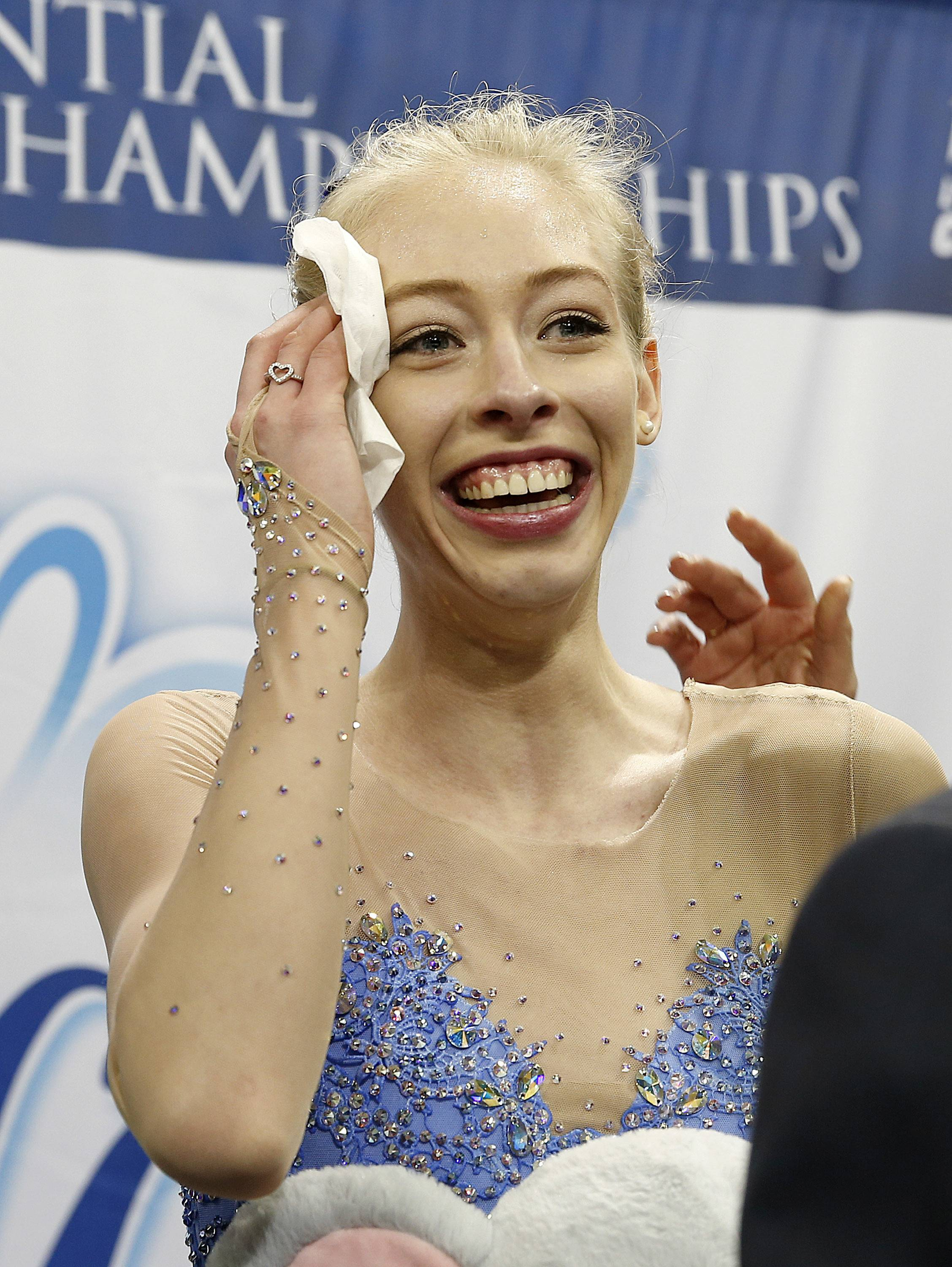 Bradie Tennell smiles after winning the women's free skate Friday at the U.S. Figure Skating Championships in San Jose, California.