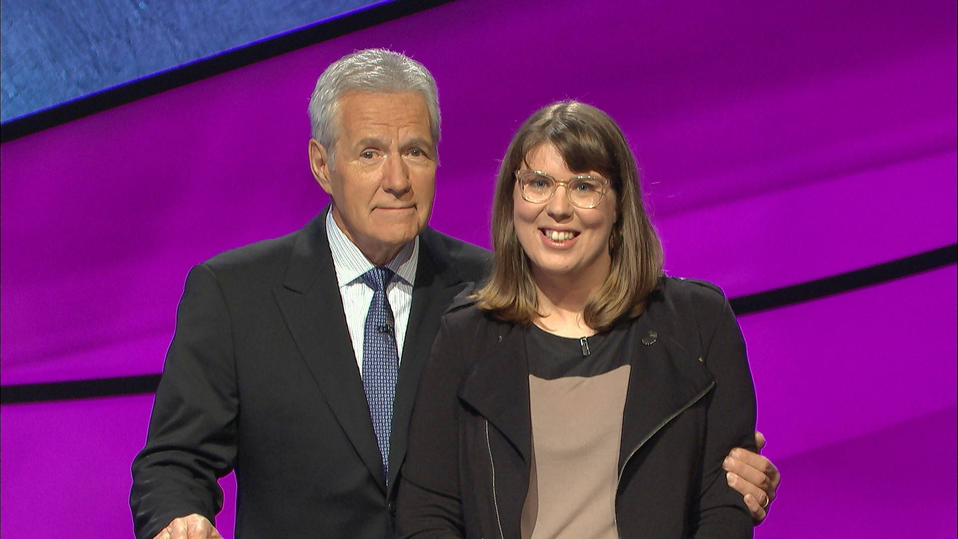 """Jeopardy!"" host Alex Trebek with 2008 Barrington High School graduate Claudia Hochstein. She finished with $3,797 but finished third on the show that was seen Friday on ABC 7 Chicago."