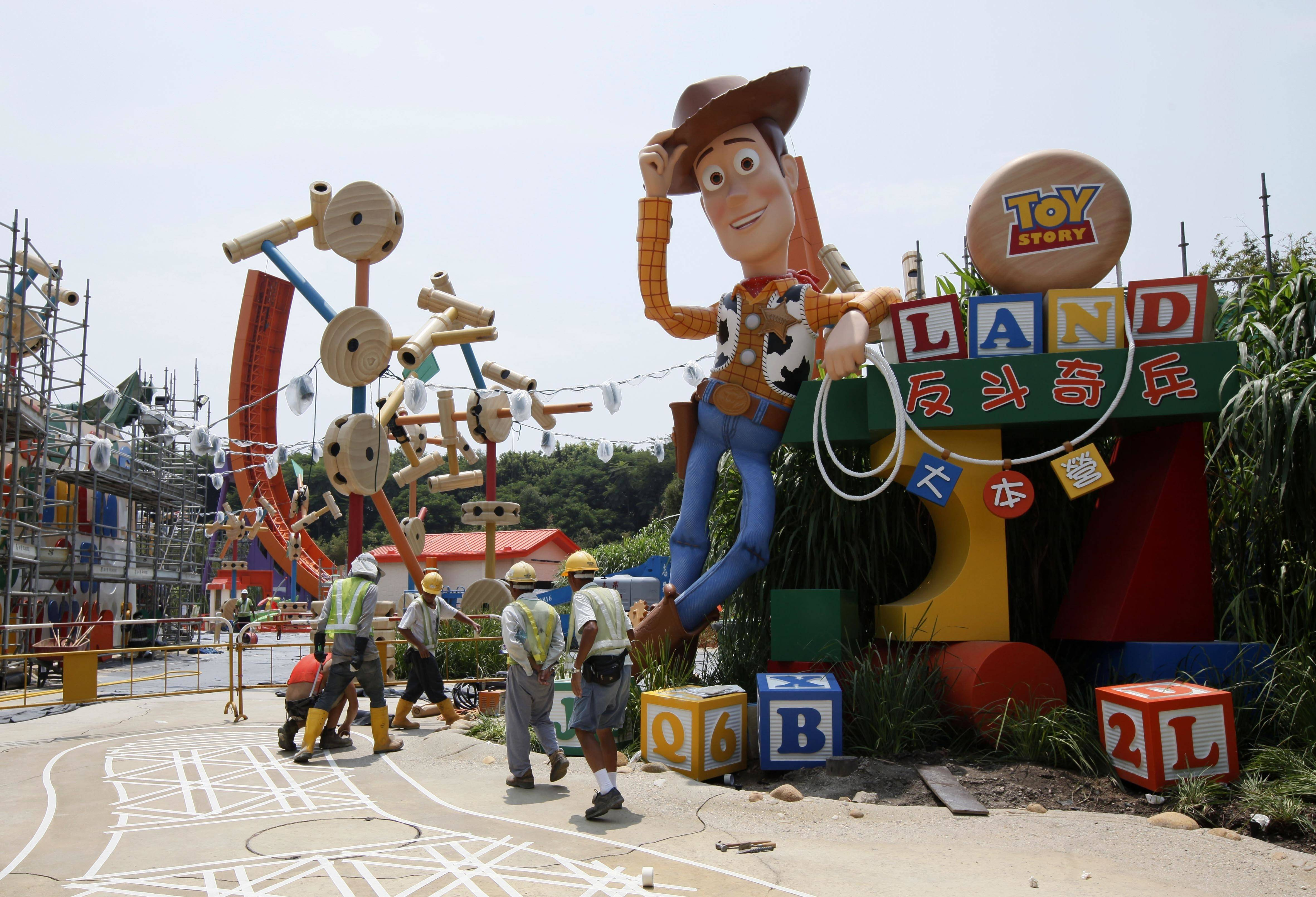 "The ""Toy Story"" character Woody posed at the construction site of the Toy Story Land in Hong Kong Disneyland. A new 11-acre Toy Story Land is planned for Walt Disney World Resort near Orlando, Fla., in 2018, opening at the theme park's Hollywood Studios."