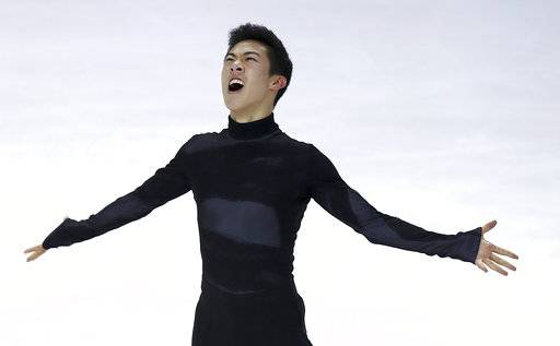 Nathan Chen reacts after his performance during the men's free skate event at the U.S. Figure Skating Championships in San Jose, Calif., Saturday, Jan. 6, 2018. (AP Photo/Ben Margot)