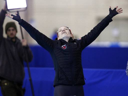 Mia Manganello reacts after competing in the women's 1,500 meters during the U.S. Olympic long track speedskating trials, Saturday, Jan. 6, 2018, in Milwaukee. (AP Photo/John Locher)