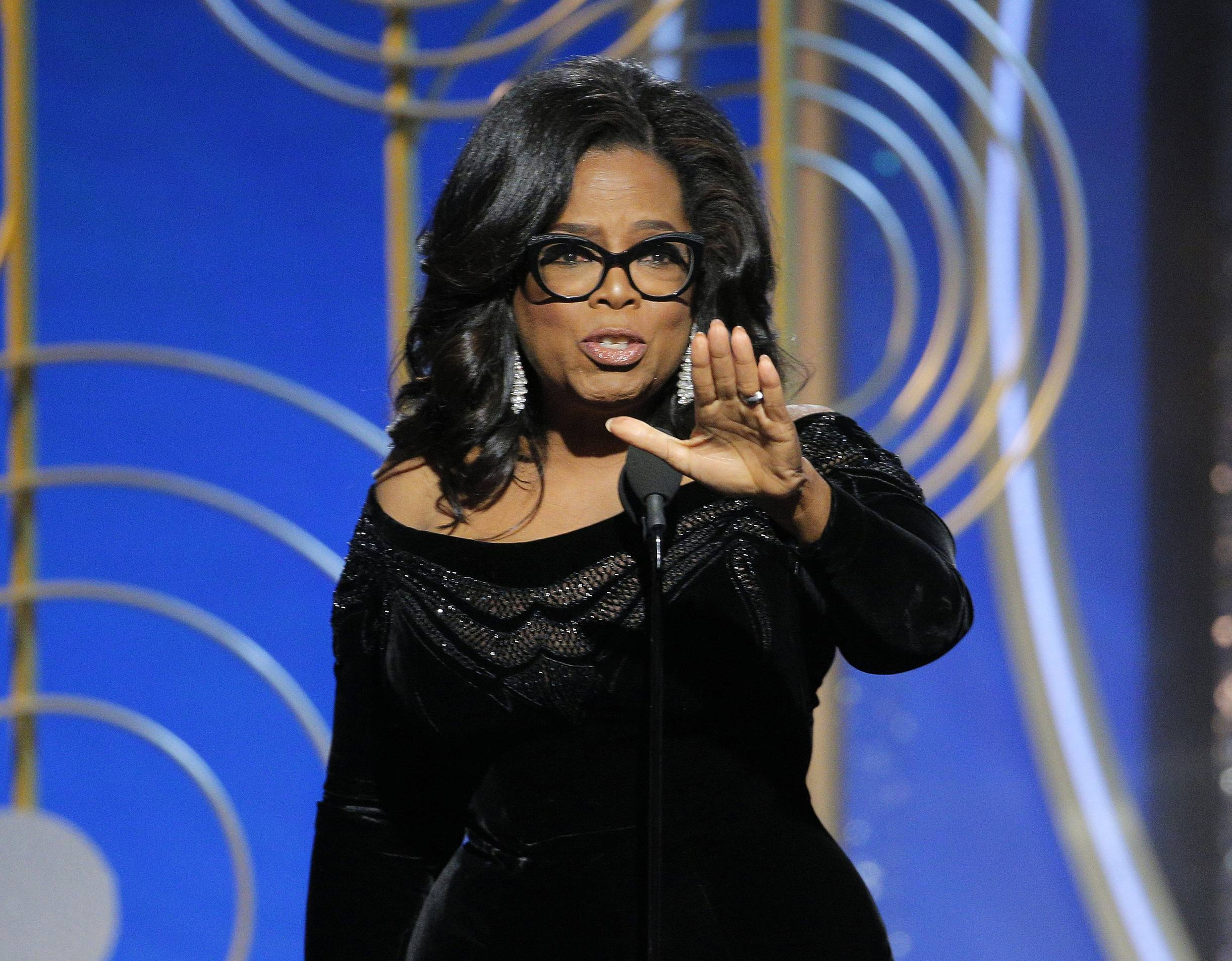 Oprah Winfrey accepts the Cecil B. DeMille Award on Sunday night at the 75th annual Golden Globe Awards in Beverly Hills, Calif.