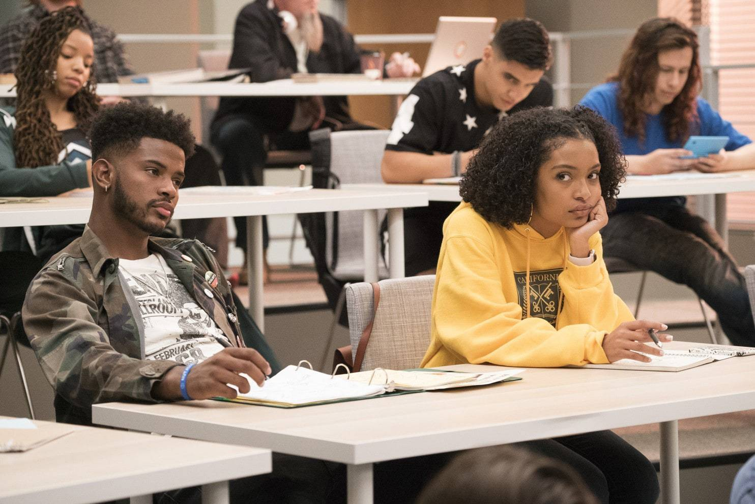 """Blackish"" character Zoey (Yara Shahidi), right, heads off to college in the spinoff ""Grownish,"" which premiered Wednesday on Freeform."