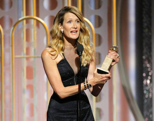 "This image released by NBC shows Laura Dern accepting the award for best supporting actress in a series, limited series or motion picture made for TV for her role in ""Big Little Lies,"" at the 75th Annual Golden Globe Awards in Beverly Hills, Calif., on Sunday, Jan. 7, 2018. (Paul Drinkwater/NBC via AP)"