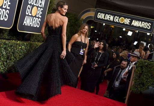 Heidi Klum arrives at the 75th annual Golden Globe Awards at the Beverly Hilton Hotel on Sunday, Jan. 7, 2018, in Beverly Hills, Calif. (Photo by Jordan Strauss/Invision/AP)