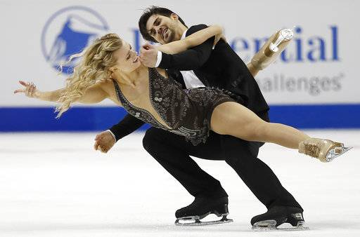 Madison Hubbell, left, and Zachary Donahue perform during the free dance event at the U.S. Figure Skating Championships in San Jose, Calif., Sunday, Jan. 7, 2018. (AP Photo/Tony Avelar)