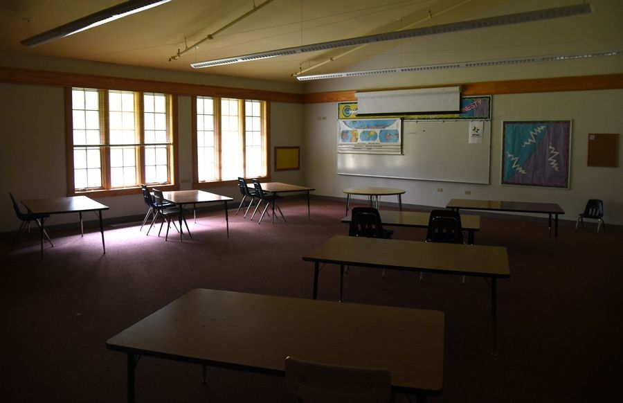 A classroom sits virtually untouched several years after the closing of Fox River Country Day School in Elgin. The site will be the future home of the Elgin Math and Science Academy.