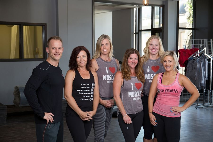 Members of the Hit It! Fitness team are, from left, Kevin Barker, DJ, head trainer, co-creator and fitness instructor; Patti Rinaldi, operations manager, fitness instructor and brand ambassador; Jeanine George, fitness instructor-Oak Park; Kate Butterfly, fitness instructor-Oak Park; Kandace Kaiser Regan, fitness instructor-Oak Park; and Constance Contursi Barker, president and owner.