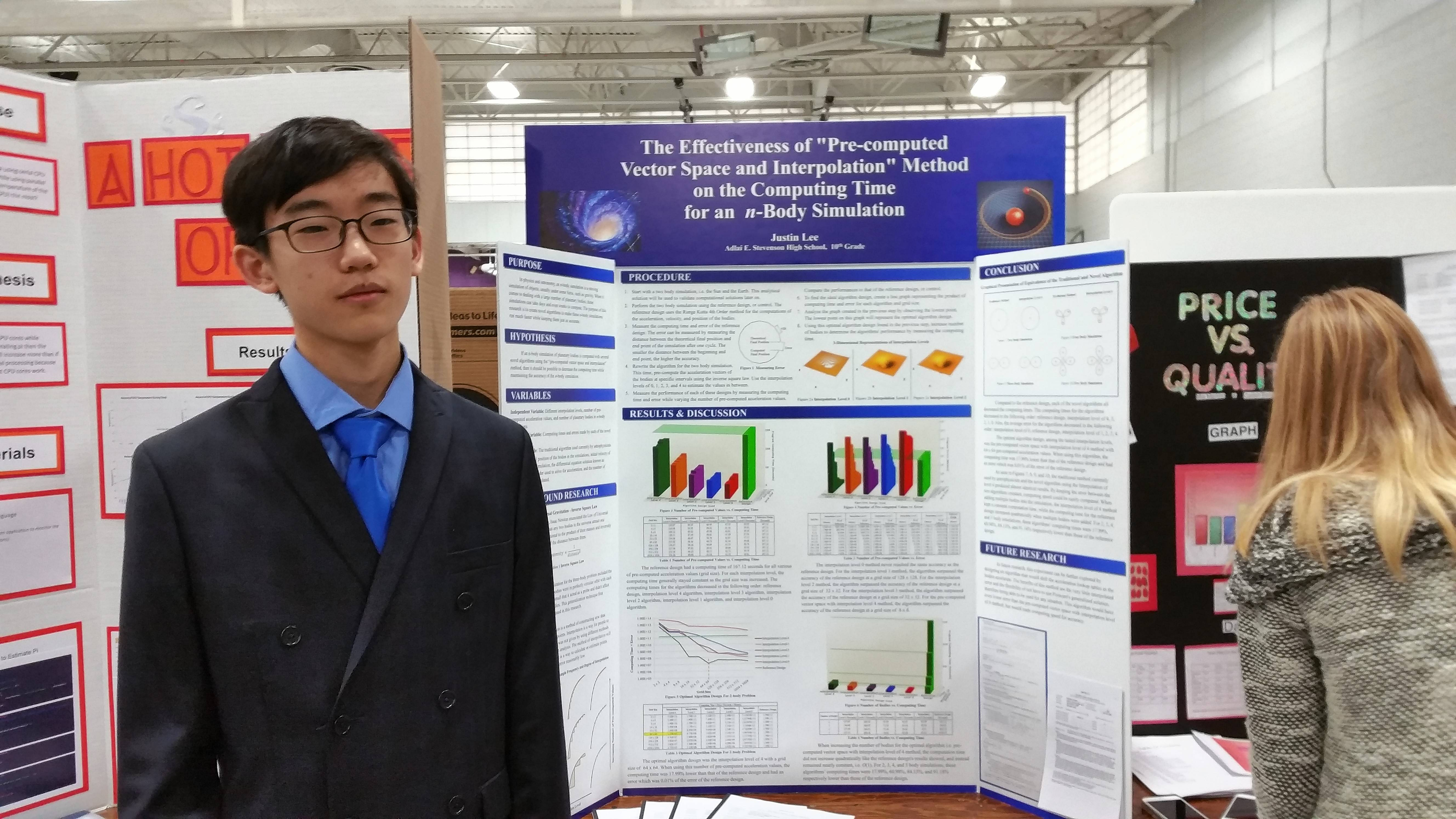 Justin Lee, a Stevenson High School student who has published a science research text, was the Yale Science and Engineering Association award winner at the 2016 Illinois Junior Academy of Science Fair.