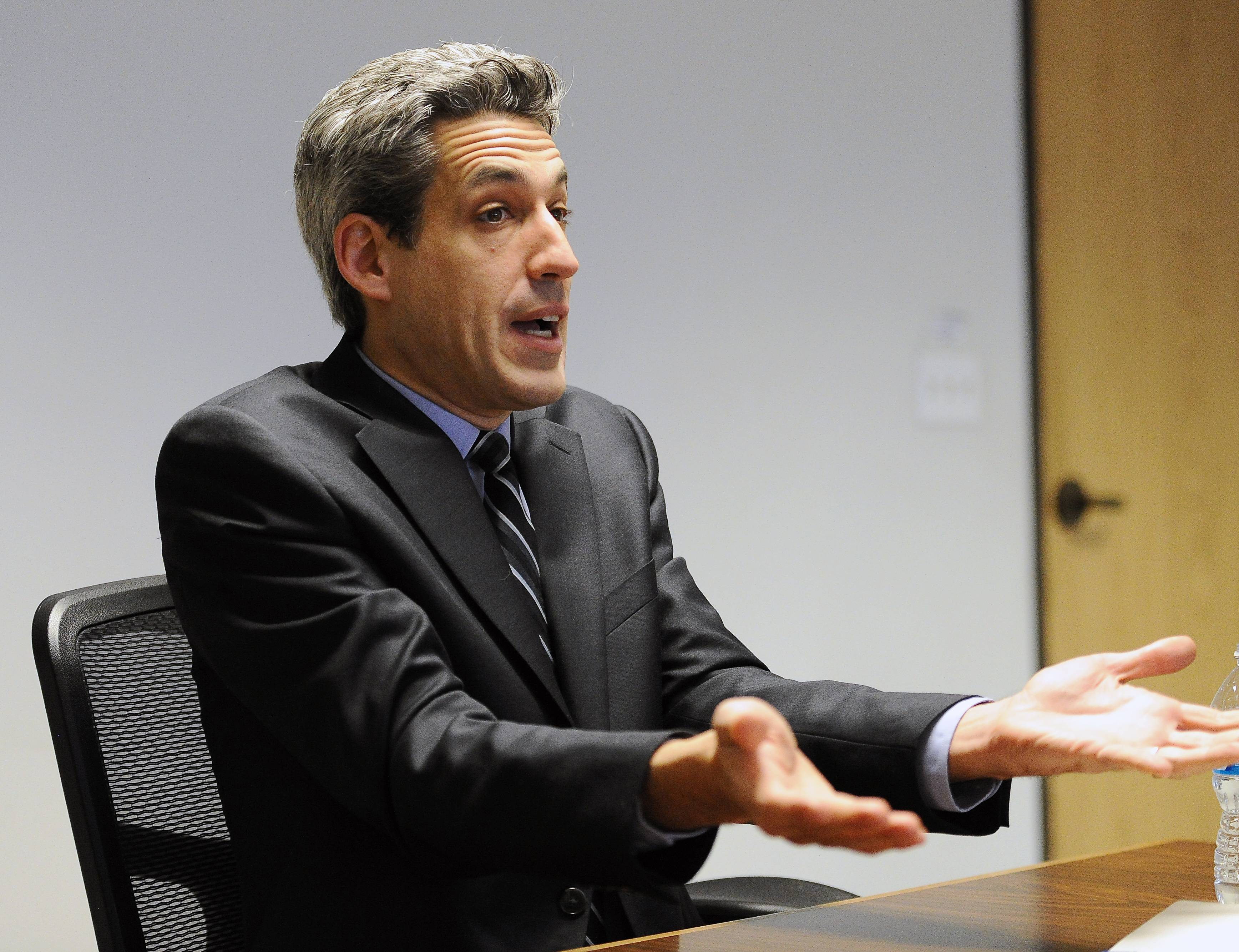 "State Sen. Daniel Biss, a Democratic candidate for governor, says ""the state's got awful budget problems, and state pension debt is an awful part of it."""