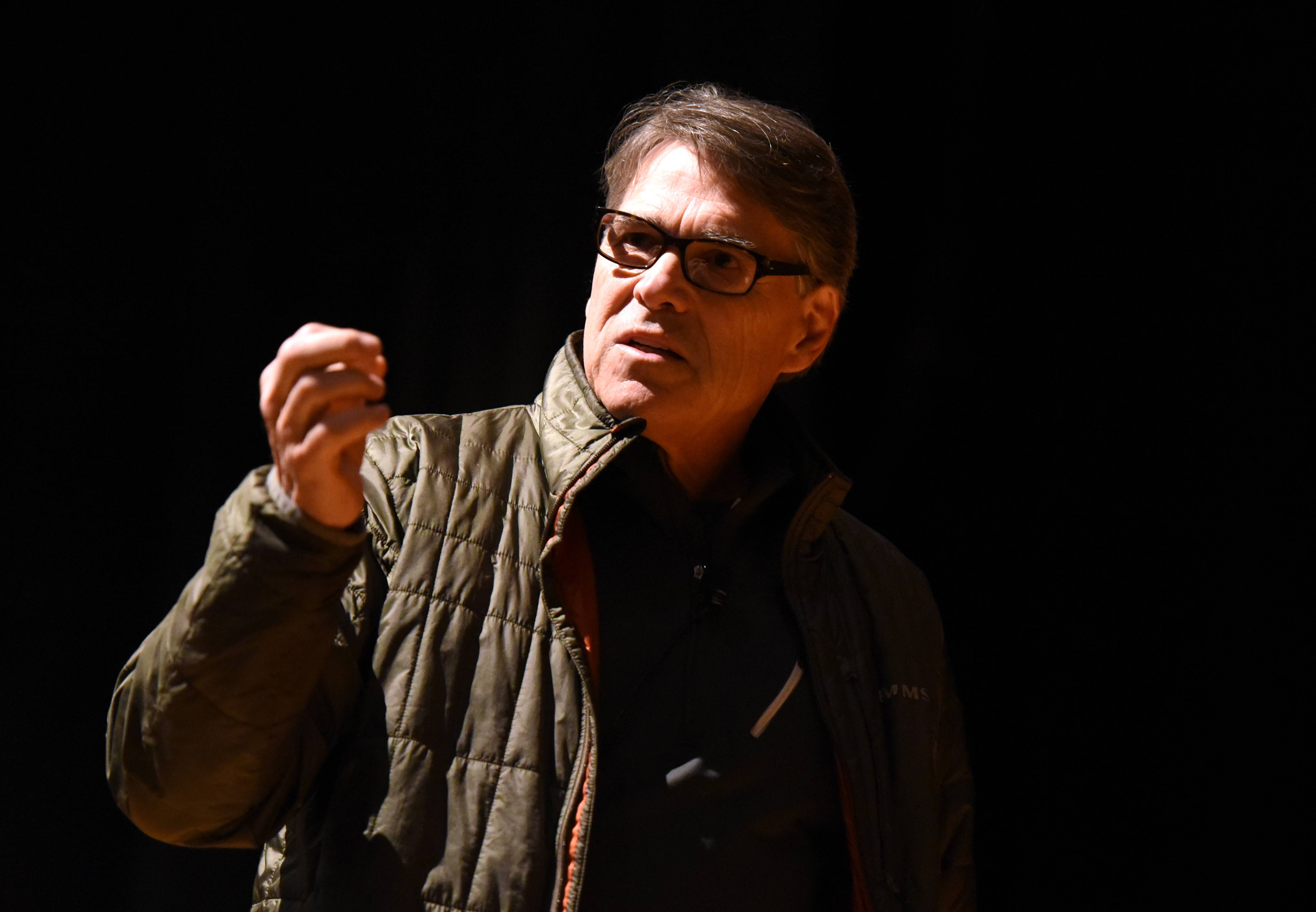 Secretary of Energy Rick Perry speaks Tuesday to employees of Fermi National Accelerator Lab in Batavia.