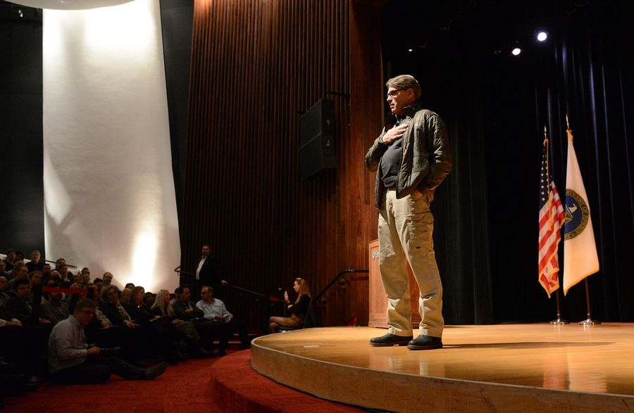 Secretary of Energy Rick Perry speaks to employees Tuesday at Fermilab.
