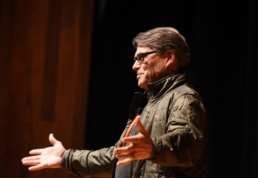 """I will do my best to be a good and cogent storyteller of what happens in places like Fermilab,"" Secretary of Energy Rick Perry said to employees Tuesday in Batavia."