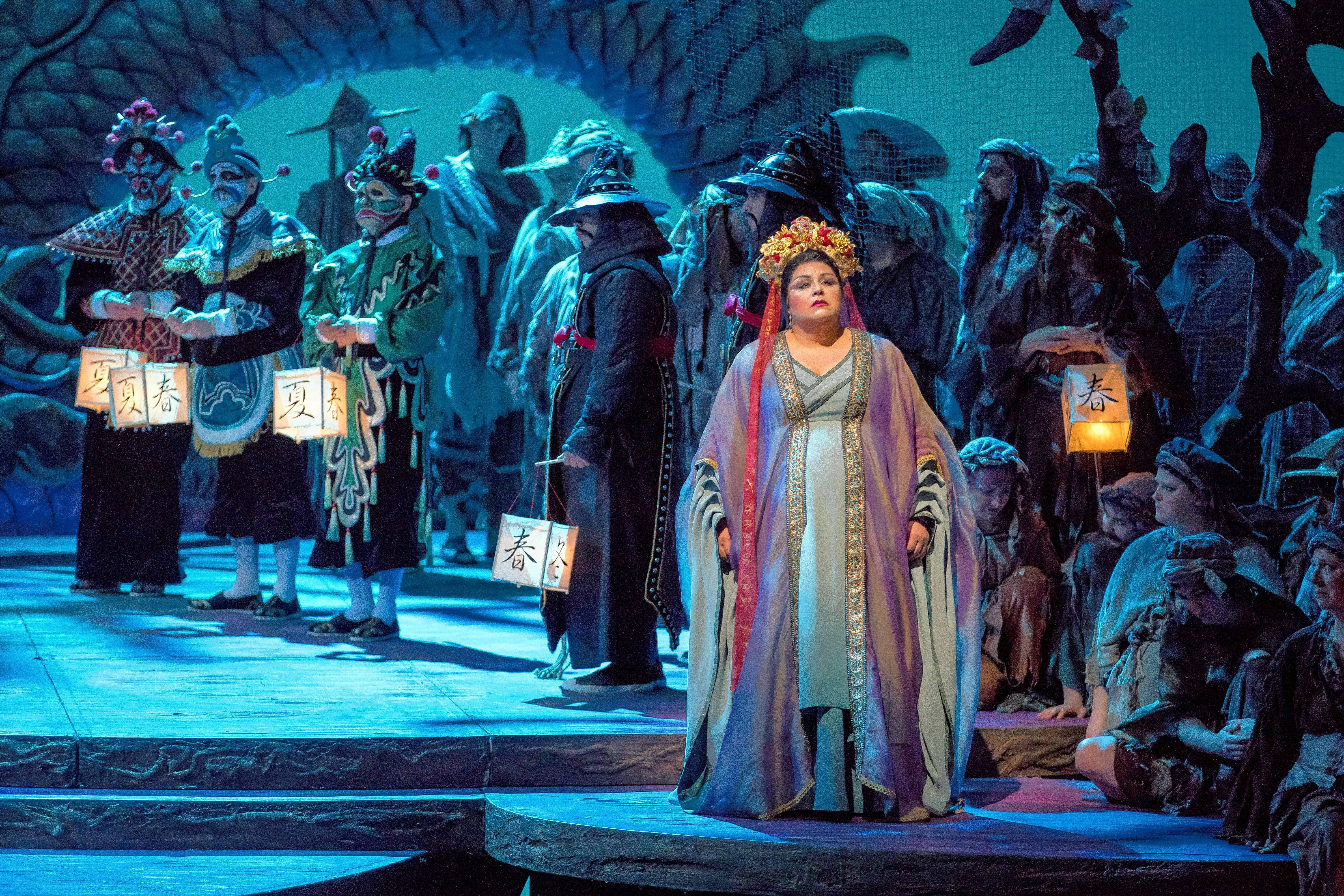 "Zachary Nelson as Ping, Keith Jameson as Pong, Rodell Rosel as Pang and Amber Wagner as the title princess in ""Turandot"" at the Lyric Opera of Chicago."