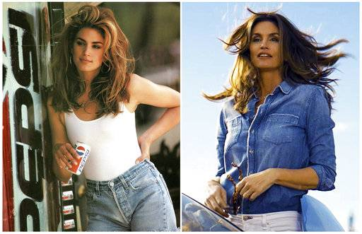 This combination of photos released by Pepsi shows actress-model Cindy Crawford in a scene from her 1992 iconic Super Bowl Pepsi commercial, left, and a scene from her 2018 commercial which will premiere during Super Bowl LII on Feb. 4. The new ad includes her son, Presley Walker Gerber, as well as footage from Michael Jackson's memorable Pepsi commercial. (Pepsi via AP)