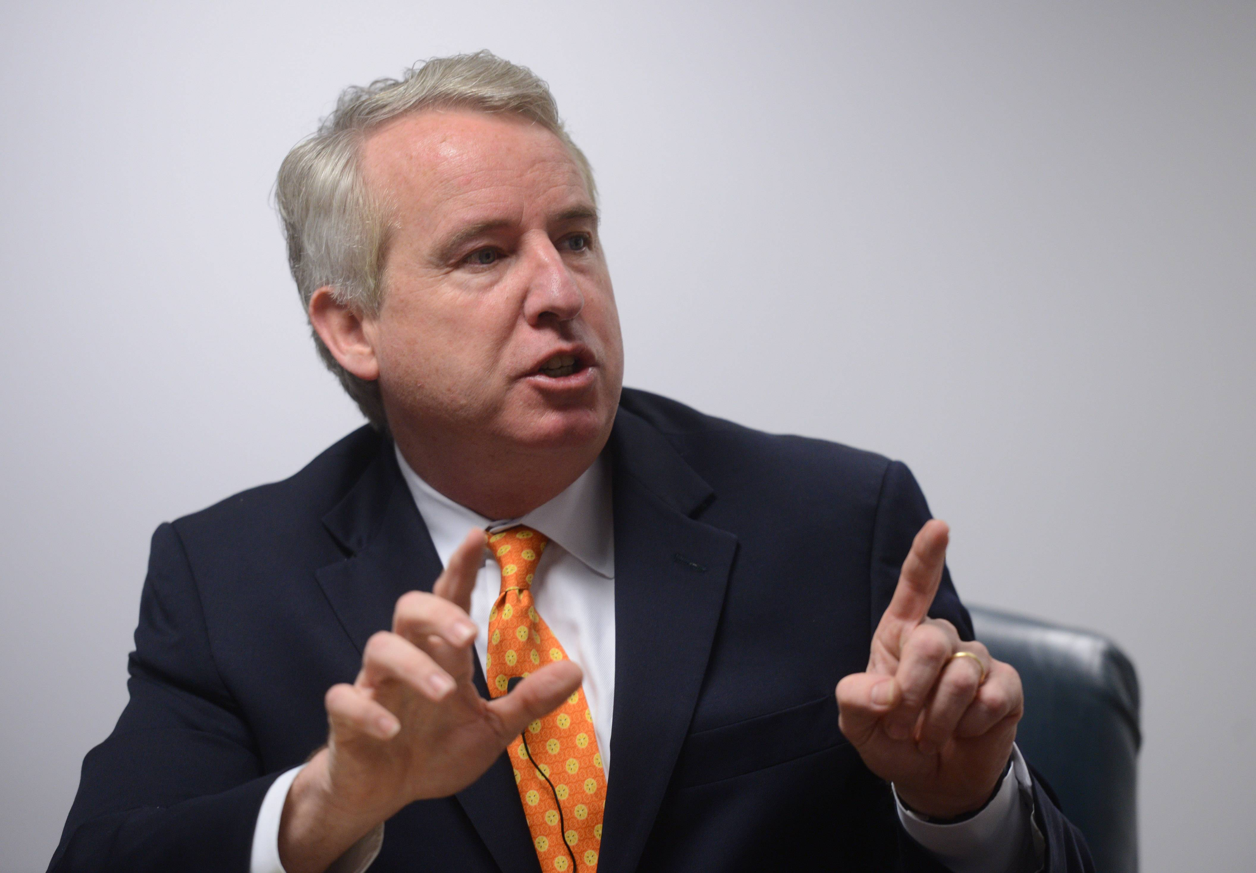 Democratic candidate for governor Chris Kennedy discusses his campaign with the Daily Herald editorial board Thursday.