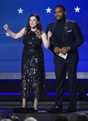 Rachel Bloom and Anthony Anderson present the award for best actress in a movie made for TV or limited series at the 23rd annual Critics' Choice Awards at the Barker Hangar on Thursday, Jan. 11, 2018, in Santa Monica, Calif. (Photo by Chris Pizzello/Invision/AP)