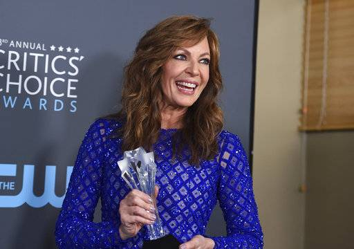 "Allison Janney, winner of the award for best supporting actress - film for ""I, Tonya"", poses in the press room at the 23rd annual Critics' Choice Awards at the Barker Hangar on Thursday, Jan. 11, 2018, in Santa Monica, Calif. (Photo by Jordan Strauss/Invision/AP)"