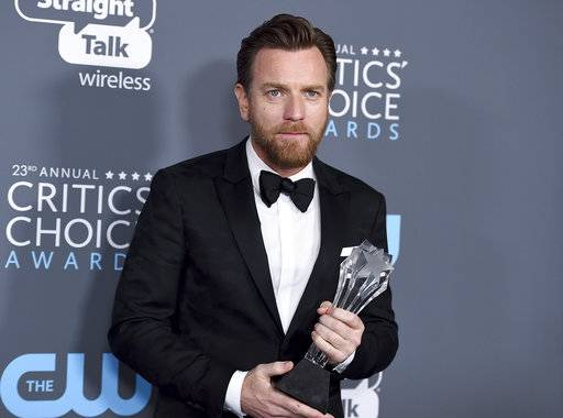 "Ewan McGregor, winner of the award for best actor in a movie made for TV or limited series for ""Fargo"", poses in the press room at the 23rd annual Critics' Choice Awards at the Barker Hangar on Thursday, Jan. 11, 2018, in Santa Monica, Calif. (Photo by Jordan Strauss/Invision/AP)"