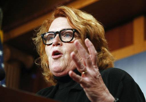 FILE - In this March 14, 2017, file photo, U.S. Sen. Heidi Heitkamp, D-N.D., speaks during a news conference on Capitol Hill in Washington. On Thursday, Jan. 11, 2018, North Dakota state Rep. Kevin Kramer said he won't run for U.S. Senate, depriving Republicans of the candidate many saw as the party's best chance to unseat Heitkamp.