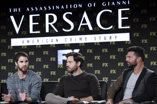 "Darren Criss, from left, Edgar Ramirez and Ricky Martin participates in the ""The Assassination of Gianni Versace: American Crime Story"" panel during the FOX Television Critics Association Winter Press Tour on Friday, Jan. 5, 2018, in Pasadena, Calif. (Photo by Richard Shotwell/Invision/AP)"
