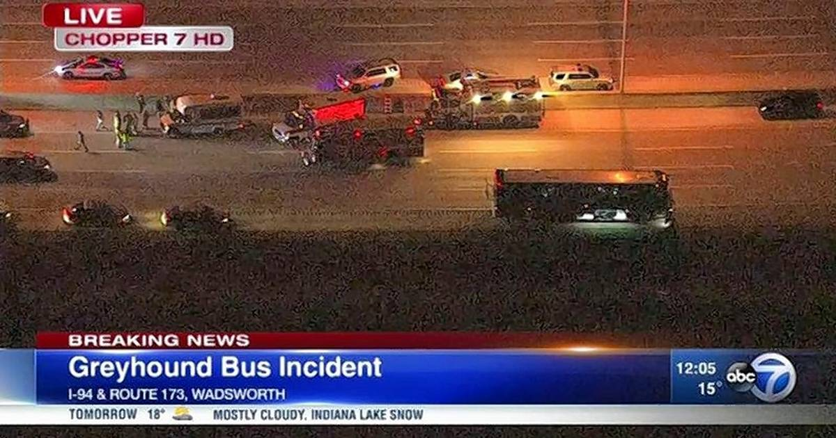Man in custody after police stop bus on I-94 at Route 173