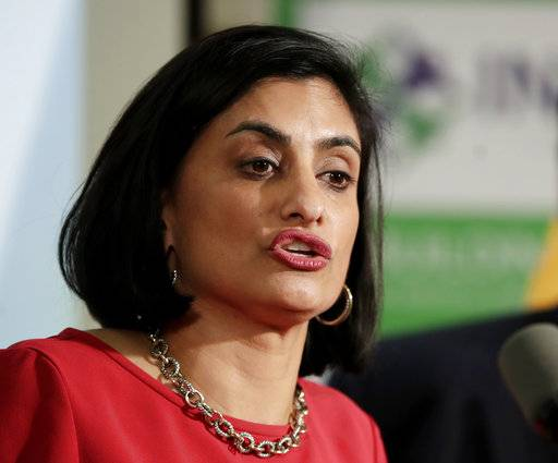 FILE - In this Nov. 29, 2017 file photo, Seema Verma, administrator of the Centers for Medicare and Medicaid Services, speaks during a news conference in Newark, N.J. The Trump administration says it's offering a path for states that want to seek work requirements for Medicaid recipients, and that's a major policy shift toward low-income people.