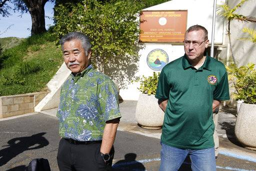 Hawaii Gov. David Ige and Maj. Gen. Joe Logan were on hand for a press conference at Civil Defense at Diamond Head Saturday, Jan. 13, 2018, following the false alarm issued of a missile launch on Hawaii. A push alert that warned of an incoming ballistic missile to Hawaii and sent residents into a full-blown panic was a mistake, state emergency officials said.  (George F. Lee  /The Star-Advertiser via AP)