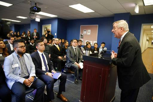 "Sen. Dick Durbin, D-Ill., speaks to students of Year Up Chicago, a one-year long job training program that provides low-income young adults, Friday, Jan. 12, 2018, in Chicago. The senator present at a White House immigration meeting says President Donald Trump used vulgar language to describe African countries, saying he ""said these hate filled things and he said them repeatedly."""