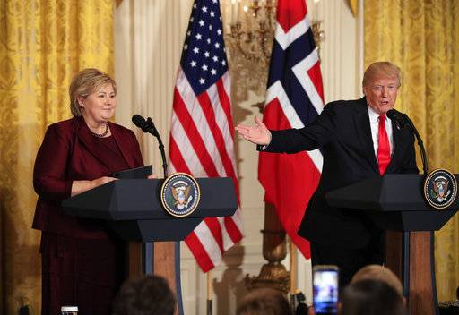 FILE - In this Wednesday, Jan. 10, 2018 file photo, US President Donald Trump speaks during a joint news conference with Norwegian Prime Minister Erna Solberg in the East Room of the White House in Washington. Africans woke up on Friday Jan. 12, 2018 to find President Donald Trump taking an interest in their continent. Using vulgar language, Trump on Thursday questioned why the U.S. would accept more immigrants from Africa rather than places like Norway in rejecting a bipartisan immigration deal. (AP Photo/Manuel Balce Ceneta, File)